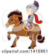 Clipart Of A Knight Boy Riding Horseback Royalty Free Vector Illustration by BNP Design Studio