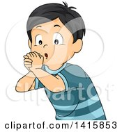 Clipart Of A Boy Using His Hands And Playing An Imaginary Flute Royalty Free Vector Illustration