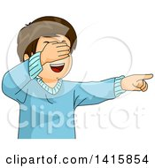 Clipart Of A Happy Caucasian Boy Covering His Eyes And Pointing While Playing Hide And Seek Royalty Free Vector Illustration