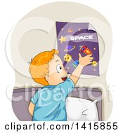 Clipart Of A Red Haired Caucasian Boy Hanging A Space Poster On His Wall Royalty Free Vector Illustration