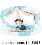 Clipart Of A Boy Paragliding With A Book Royalty Free Vector Illustration