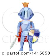 Clipart Of A Fully Armored Knight Holding A Sword And Shield Royalty Free Vector Illustration
