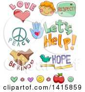 Clipart Of Kindness And Charity Designs Royalty Free Vector Illustration
