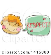 Clipart Of A Boy Talking About Respect Royalty Free Vector Illustration