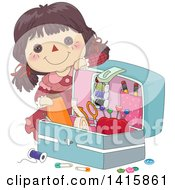 Clipart Of A Brunette Doll By An Open Sewing Kit Royalty Free Vector Illustration