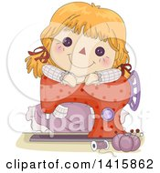 Clipart Of A Brunette Doll Resting On Top Of A Sewing Machine Royalty Free Vector Illustration