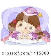 Clipart Of A Brunette Doll Tucked In For Bed Royalty Free Vector Illustration by BNP Design Studio