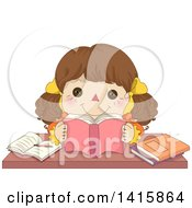 Clipart Of A Brunette Doll Reading A Book And Studying Royalty Free Vector Illustration by BNP Design Studio