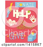 Clipart Of Charity And Donation Design Elements On Pink Royalty Free Vector Illustration