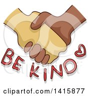 Poster, Art Print Of Hands Shaking Over Be Kind Text