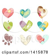 Clipart Of Charity Hearts Royalty Free Vector Illustration