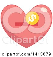 Clipart Of A Charity Heart With A Coin And Slot Royalty Free Vector Illustration