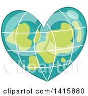 Clipart Of A Charity Heart Of A Grid Earth Royalty Free Vector Illustration