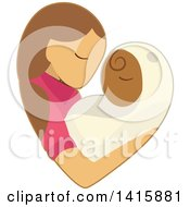 Clipart Of A Charity Heart Of A Woman Fostering Or Adopting A Baby Royalty Free Vector Illustration