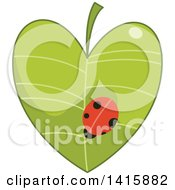 Clipart Of A Charity Heart With A Ladybug On A Leaf Royalty Free Vector Illustration