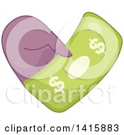 Clipart Of A Charity Heart Of A Hand Holding Cash Royalty Free Vector Illustration by BNP Design Studio