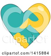 Clipart Of A Charity Heart Of Shaking Hands Royalty Free Vector Illustration