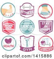 Clipart Of Fitness Icons And Labels Royalty Free Vector Illustration
