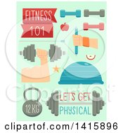 Clipart Of Workout And Fitness Icons On Green Royalty Free Vector Illustration