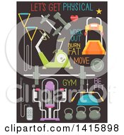 Clipart Of Gym Equipment And Words On Dark Gray Royalty Free Vector Illustration by BNP Design Studio