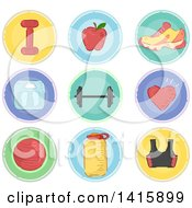 Clipart Of Sketched Round Fitness Icons Royalty Free Vector Illustration