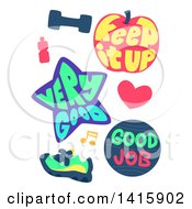 Clipart Of Fitness And Workout Encouragement Icons Royalty Free Vector Illustration