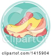 Clipart Of A Sketched Round Fitness Sneaker Shoe Icon Royalty Free Vector Illustration
