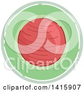 Clipart Of A Sketched Round Fitness Ball Icon Royalty Free Vector Illustration