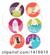 Clipart Of Round Icons Of Hands Donating Food And Items Royalty Free Vector Illustration