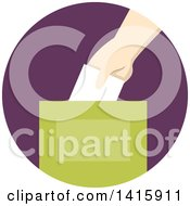 Clipart Of A Round Icon Of A Hand Donating Money And Putting It In A Box Royalty Free Vector Illustration