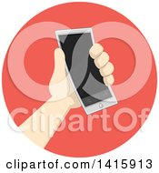 Round Icon Of A Hand Donating Or Holding A Smart Phone