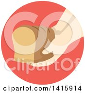 Clipart Of A Round Icon Of A Hand Donating A Loaf Of Bread Royalty Free Vector Illustration by BNP Design Studio