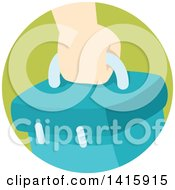 Clipart Of A Round Icon Of A Hand Carrying A Box Royalty Free Vector Illustration
