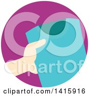 Clipart Of A Round Icon Of A Hand Donating Clothing Royalty Free Vector Illustration
