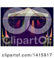 Clipart Of A Stage Set Up On The Beach With Fireworks And Tiki Torches Royalty Free Vector Illustration