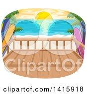 Clipart Of A Beach House Balcony Over An Ocean Sunset Royalty Free Vector Illustration by BNP Design Studio