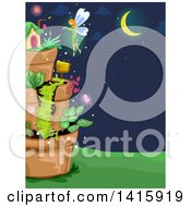 Clipart Of A Fairy Srpinkling Magic Dust On Her Garden House Royalty Free Vector Illustration by BNP Design Studio