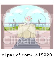 Clipart Of A Romantic Table Set For Two On A Balcony With A Valley View Royalty Free Vector Illustration