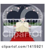 Clipart Of A Romantic Table Set For Two On A Balcony At Night Royalty Free Vector Illustration