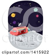 Clipart Of A Space Ship On The Moons Surface Royalty Free Vector Illustration