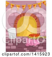 Clipart Of A Chef Toque Hat And Pizza On A Counter Near A Brick Oven Royalty Free Vector Illustration by BNP Design Studio