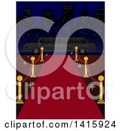 Clipart Of A Red Carpet Leading To A Limo In A City Royalty Free Vector Illustration by BNP Design Studio