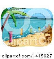 Clipart Of A Sketched Beach With A Bar Hut Palm Tree And Colorful Banners Royalty Free Vector Illustration