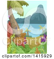 Clipart Of A Coastal Forest Royalty Free Vector Illustration