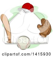 Clipart Of A Sketched Baseball Plate Ball Bat Glove And Hat Royalty Free Vector Illustration by BNP Design Studio