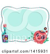 Clipart Of A Day Of The Dead Sugar Skull Bead And Bottle Frame Royalty Free Vector Illustration