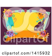 Day Of The Dead Frame With A Blank Banner Guitar And Sugar Skulls On Purple