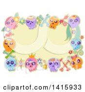 Poster, Art Print Of Border Of Colorful Sugar Skulls And Flowers