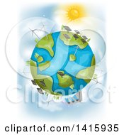 Clipart Of A Sun Shining Down On Planet Earth With Different Renewable Energy Plants Royalty Free Vector Illustration by BNP Design Studio