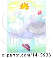 Clipart Of A Happy Sun With A Kite Wind Clouds Rain And Umbrella Royalty Free Vector Illustration by BNP Design Studio